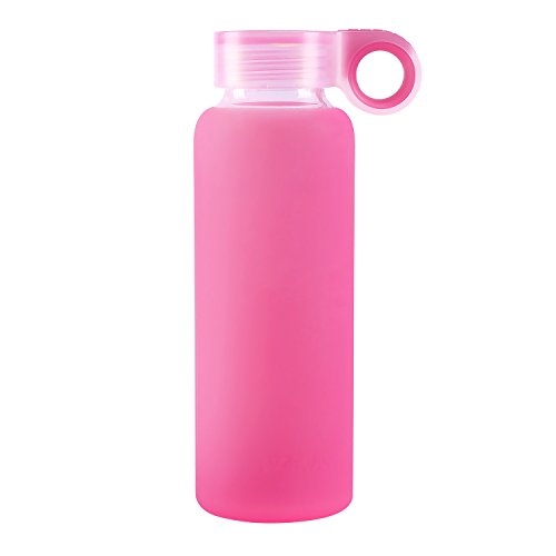 Nobvan Glass Water Bottle with Colorful Soft Silicone Sleeve Sports Camping Canteen Outdoors Creative Cup Children Couples Silicone Antiskid Kettle Glass (rose-red, 300ml-10oz)