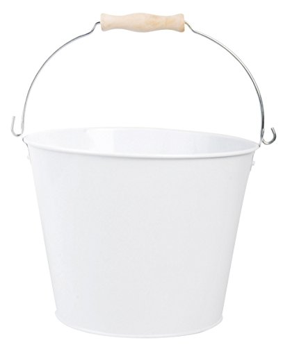 - Esschert Design USA White Metal Bucket with Wood Handle (RD23)