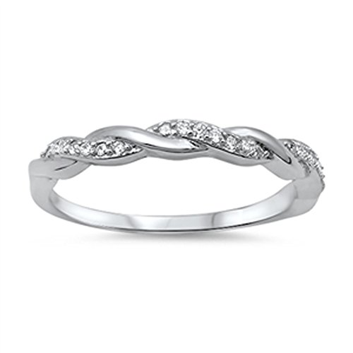 Infinity Braid Clear CZ Promise Ring New .925 Sterling Silver Band Size - Braid Pure Silver