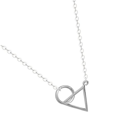 925 Silver Circle Intertwined Triangle Dangle Drop Necklace Circle Linked Circle Chain Necklace