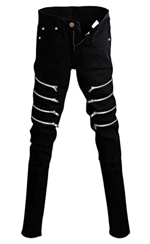 Betusline Men's Zipper Rock Gothic Punk Zipper Skinny Jeans Trousers+Chain Black