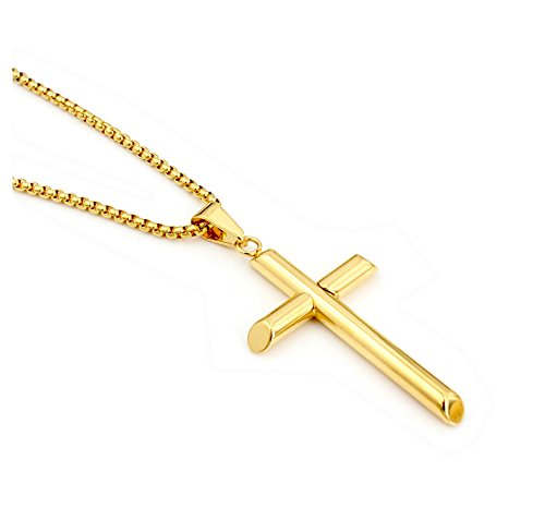 Hollywood Jewelry 24K Gold Chain Cross Pendant Necklace for Men, Women w/real strong Solid Clasp Miami Cuban Link style -