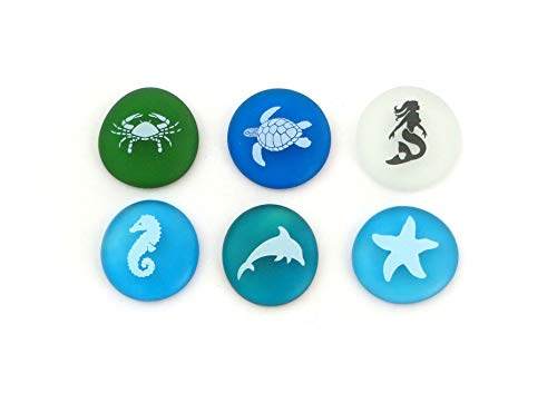 Lifeforce Glass The Mermaid's Message Sea Life, Frosted Sea Glass Stones, Six Pictures of Real and Imagined Sea Creatures in Beach Colors