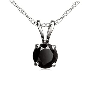 0.27 Carat (ctw) 10K White Gold Round Cut Black Diamond Ladies Solitaire Pendant 1/4 CT