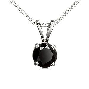 0.27 Carat (ctw) 14K White Gold Round Cut Black Diamond Ladies Solitaire Pendant 1/4 CT