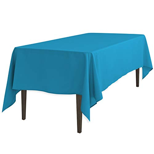 LinenTablecloth 60 x 126-Inch Rectangular Polyester Tablecloth Caribbean (Teal Table Cloth Linen)