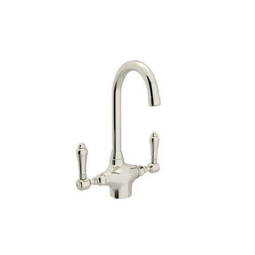 Rohl A1667LMPN-2 5-Inch Reach Country Kitchen Single Hole Dual Handle Bar Mixer Faucet in Polished Nickel - Nickel Country Single Hole