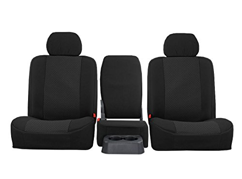FRONT SEATS: ShearComfort Custom OEM Seat Covers for Toyota Tundra (2007-2013) in Black for 40/20/40 w/Folddown Console and 3 Adjustable Headrests