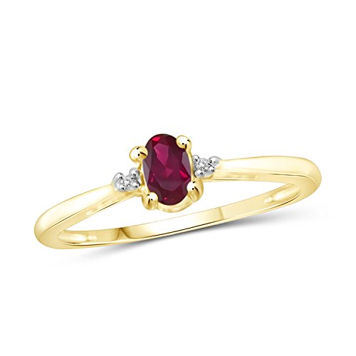 Gold Genuine Ruby Ring - Jewelexcess 0.25 CTW Genuine Ruby Gemstone & Accent White Diamond Ring in 14k Gold Over Silver