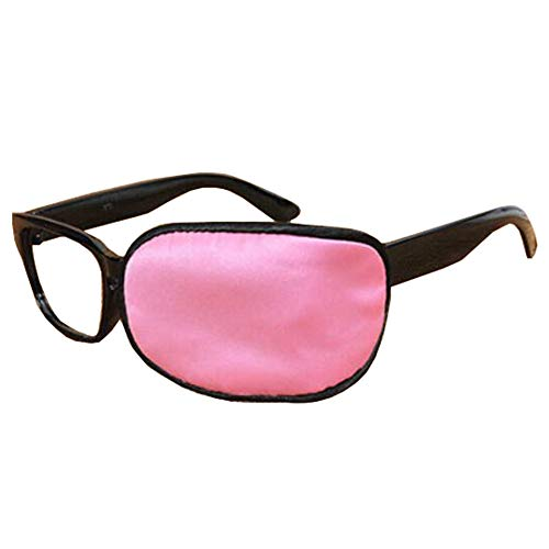 Kids/Adult Silk Glasses Eye Mask Amblyopia Strabismus Shading Lazy Eye Patches for Glasses Treat Lazy Eye and Strabismus(Pink)