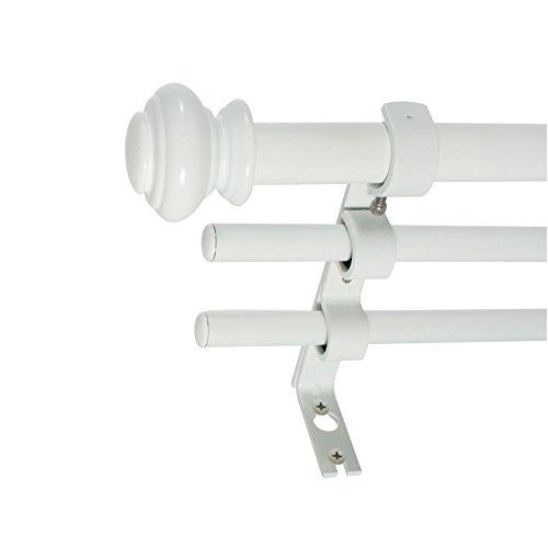 "Price comparison product image Decopolitan 42""-120"" Urn 3 / 4"" Triple Drapery Rod Set in White Single"