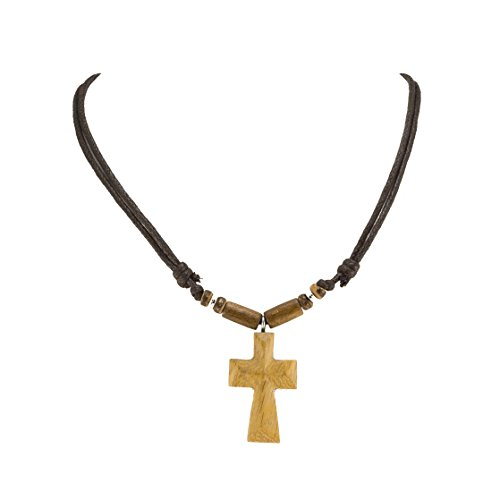 Wood Cross Pendant on Adjustable Brown Rope Cord Necklace with Wood Beads Accent