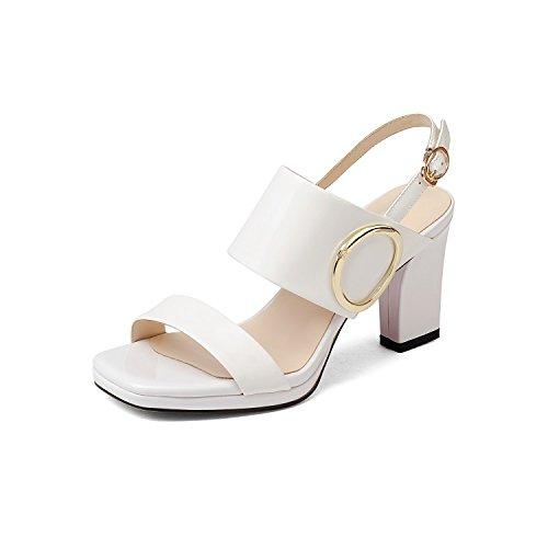 QIN&X Damen Sandalen Block High Heels Peep Toe Sommer Schuhe White