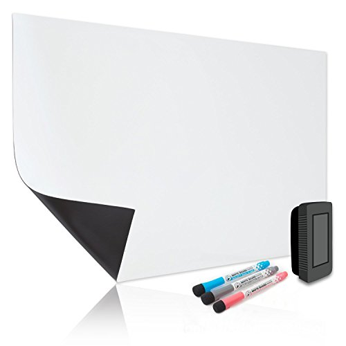 rase Whiteboard for Refrigerator 17X11 inches- White Board Organizer Stain Resistant Technology Multi Purpose Planner- Includes 3 Markers and Big Eraser with Magnets (Laminated Panels)