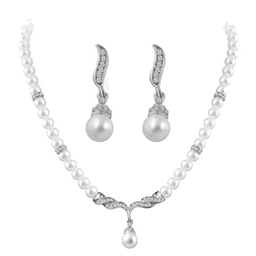 - Todens Crystals Angel Wings Jewelry Set Pearl Beads Jewelry Choker Pendants Necklaces Earrings Sets