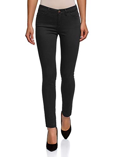 oodji Ultra Women's Basic Slim-Fit Jeans, Black, 26W / 32L (US 2 / EU 36 / XS)