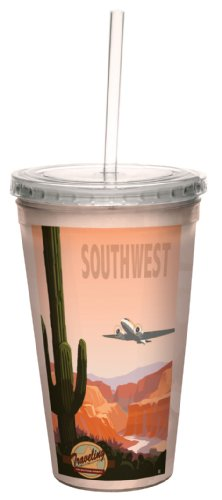 cc33072 Vintage Traveling Nostalgia Southwestern Airways by Mike Rangner Artful Traveler Double-Walled Cool Cup with Straw, 16-Ounce (Southwestern Gift)