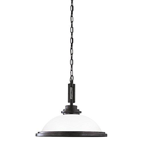 (Sea Gull Lighting 65660-839 Winnetka One-Light Pendant with Satin Etched Glass Shade, Blacksmith Finish)