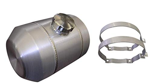 (8x14 Center Fill Round Spun Aluminum Gas Tank - 3 Gallon - Motorcycle - Tractor Pulling - Ratrod - Dune Buggy - Trike - Baja Bug - 1/4 NPT - Made in the USA!)