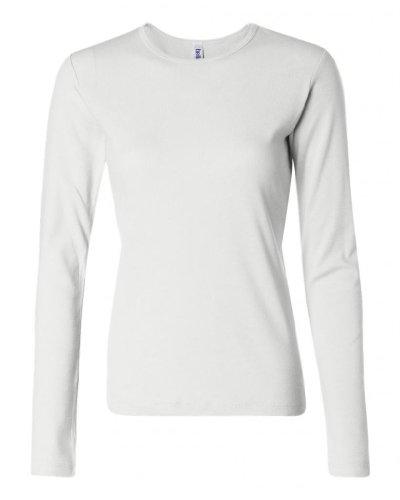 A&E Designs Ladies 100% Cotton Long Sleeve Crew Neck T-Shirt, Small, White ()