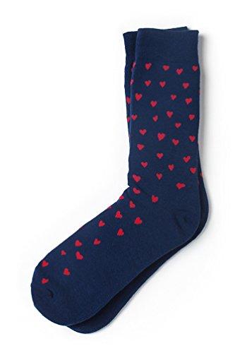 Men's Navy Blue & Red Hearts Love Novelty Crew Dress Socks, Shoe Size: 7-13 from Sock Genius