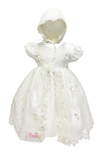 Angeline Kids Baby Girls Christening Dress Baptism Dedication Ivory Gown 1799C 6-12M(#6) (Destination Gown)