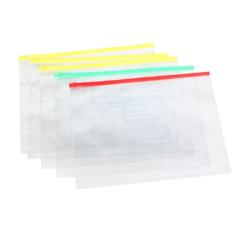 Uxcell Plastic Waterproof Pen A4 File Paper Zip Lock Bags Folders, 5-Piece, Clear (A4 Plastic File Folder)