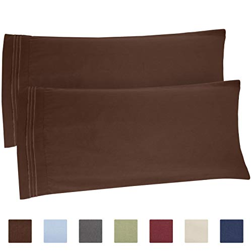 (King Size Pillow Cases Set of 2 - Soft, Premium Quality Hypoallergenic Brown Pillowcase Pillow Covers - Machine Washable Pillow Protectors - 20x40, 20x36 & 20x48 King Size Pillows for Sleeping 2 Pack)
