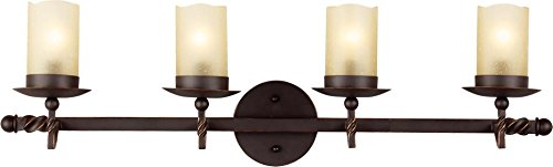 Sea Gull Lighting 4410604-191 Trempealeau Four-Light Wall/ Bath with Champagne Seeded Glass, Roman Bronze Finish (Bath Fixture Champagne Seeded Glass)