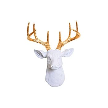 white faux taxidermy the mini alfred resin faux deer head with antlers animal head wall hanging