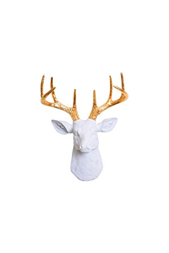 White Faux Taxidermy Antlers Sculpture