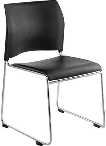 Black Stackable Cafetorium Chair with Chrome Frame. Chair for Kitchen, Dining, Bedroom, Living Room Side, Party, Ivents, Banquets.