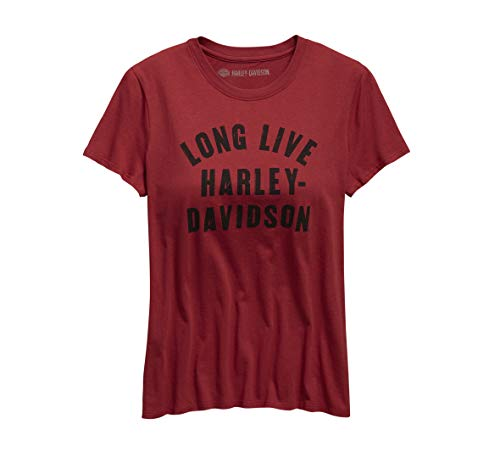 Harley-Davidson Official Women's Long Live H-D Tee, Red (Medium) ()
