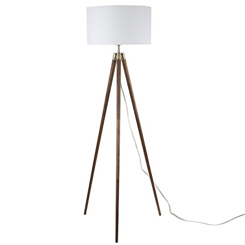 Light Society Celeste Tripod Floor Lamp, Walnut Wood Legs with Antique Brass Finish and White Fabric Shade, Mid Century Contemporary Modern Style (LS-F233-WAL) by Light Society (Image #1)