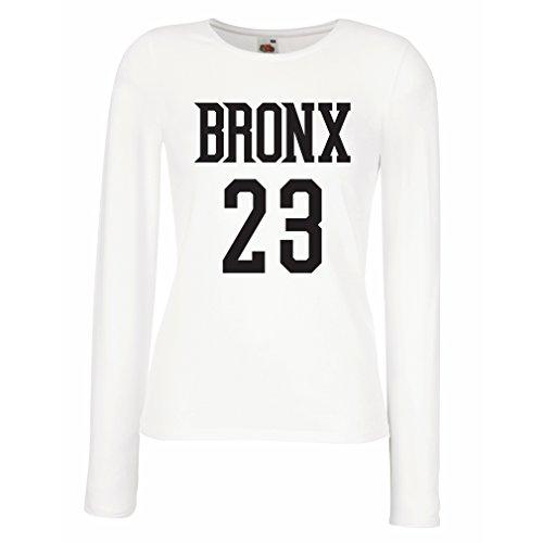 lepni.me Camisetas de Manga Larga para Mujer Bronx 23 - Moda de Estilo Callejero (Large Blanco Negro)