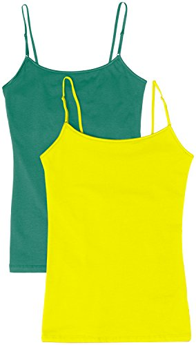 Women's Camisole Built-in Shelf Bra Adjustable Spaghetti Straps Tank Top Pack 2 Pk S Teal   Yellow Medium (Yellow Bra Straps)