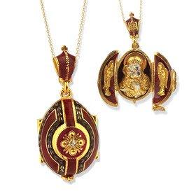 Angel Enameled Pendant (ALEX001 Eggs All Kinds Sterling Silver Gold Gilded Enameled Egg Pendant Locket Madonna & Child Angels)