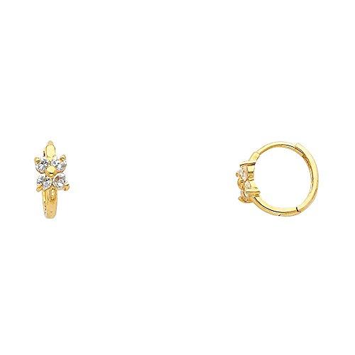 Earrings Flower Yellow Gold - 14k Yellow Gold Flower CZ Huggie Earrings - White (10 x 10 mm)