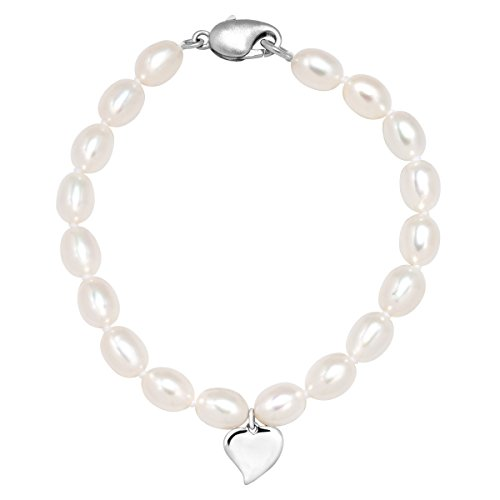 Girl's 5.5-6 mm Freshwater Cultured Pearl Heart Charm Bracelet in Sterling Silver