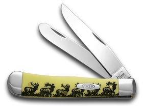 Elk Trapper (CASE XX Trapper - Elk Walking Etched Yellow Pocket Knife Knives)