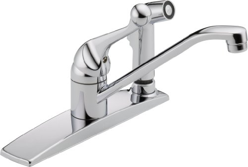 (Delta Faucet 300LF-WF Classic, Single Handle Kitchen Faucet with Integral Spray, Chrome)