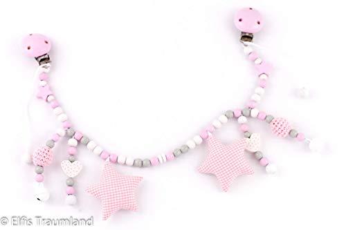 Kinderwagenkette rosa weiß Häkelperle Mädchen kette Baby
