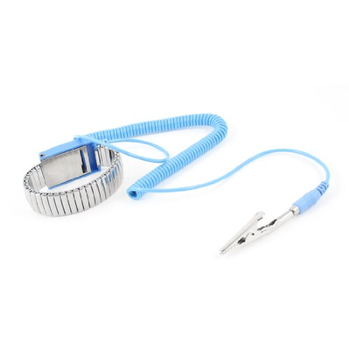 uxcell Antistatic ESD Wristband Metal Adjustable Grounding Strap Blue