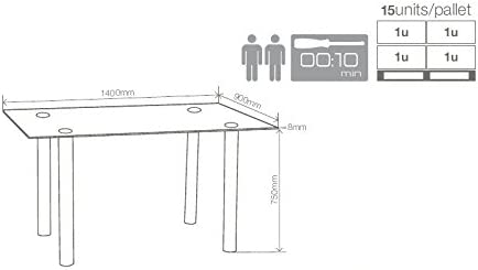 Suarez - Mesa salon cristal avat con pata cromada, medidas 140 x ...