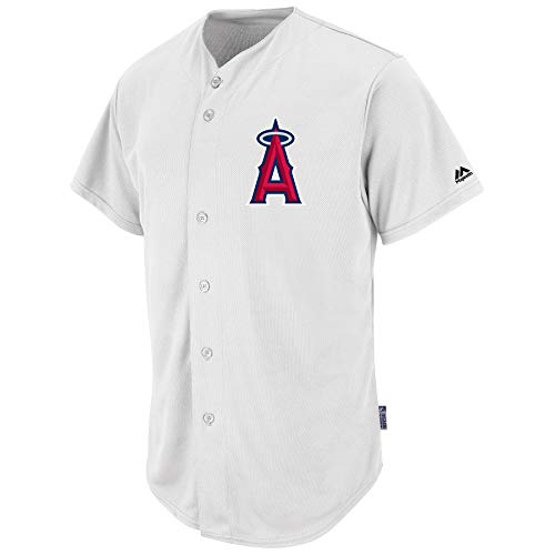 Button Pro Style Adult Full (Majestic Adult MLB Cool Base Pro Style Game Jersey - Los Angeles Angels 2XL White)