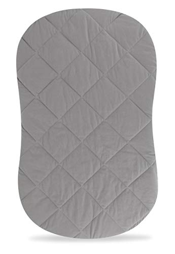 Jersey Cotton Quilted Waterproof Hourglass/Oval Bassinet Sheet All in one Bassinet Sheet and Bassinet Mattress Pad Cover with Heat Protection - Grey, by Ely's & Co. (Quilted Jersey)