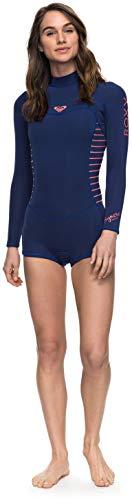 Roxy Womens 2/2Mm Syncro Series - Long Sleeve Back Zip Flt Springsuit - Women Navy Ll/Coral Flame 8