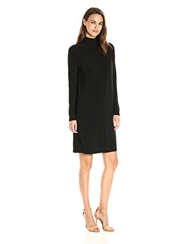 norma-kamali-womens-long-sleeve-turtleneck-dress-to-knee-solid-black-l