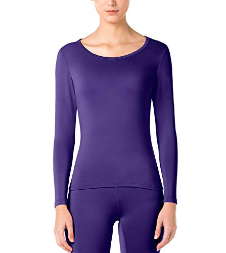 Purple Thermal - LAPASA Women's Lightweight Thermal Underwear Top Fleece Lined Base Layer Long Sleeve Shirt L15 Purple,S Chest 32.3