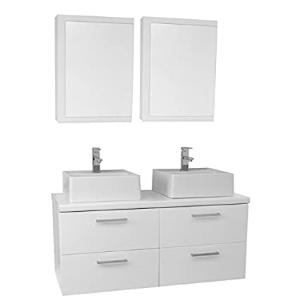 Iotti AN422 Aurora Double Vessel Sink Bathroom Vanity Wall Mounted With  Medicine Cabinets Included, 45u0026quot